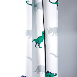 White curtains with dinosaurs