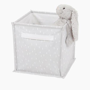 Canvas Storage Cube, Grey Dashed