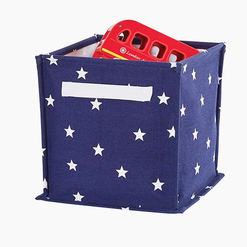 Canvas Storage Cube, Navy Stardust