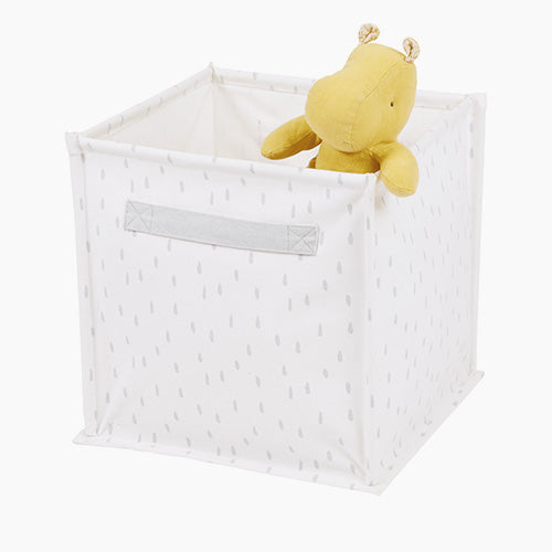Canvas Storage Cube, White Dashed
