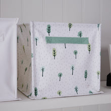 Canvas storage cube in white with woodland trees.
