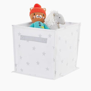 Canvas Storage Cube, White Stardust