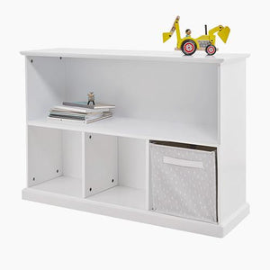 Storage shelf unit in white with a wooden desk organiser and storage cubes & baskets.