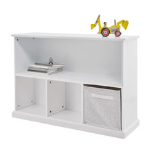 Storage shelf unit in white with children's books and storage cubes.