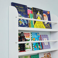 Greenaway gallery bookcase in white with children's books.