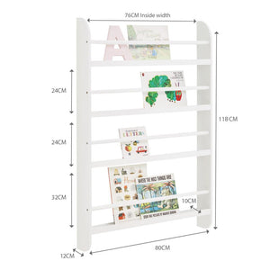 Greenaway gallery bookcase in white with many children's books and pink & blue kite wall decoration.