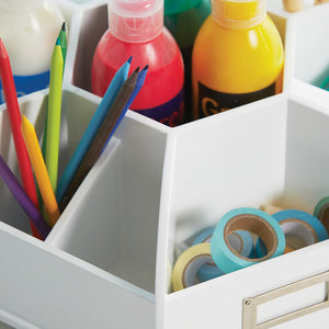 arts and crafts supplies in desk organiser
