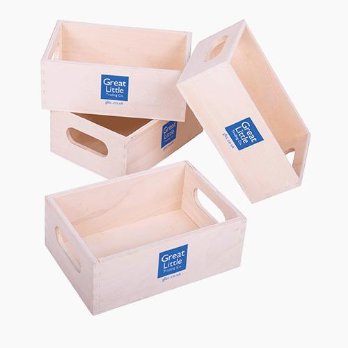 Wooden Toy Crates, Set of 4