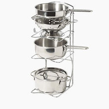 Toy pots & pans in metallic silver with wooden toy food.