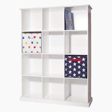 Twelve cube storage unit in white with children's books, wooden toys and storage cubes & baskets.