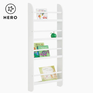 Greenaway skinny gallery bookcase in white with many children's books.