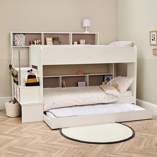 Harbour Storage Bunk Bed + Truckle, White.
