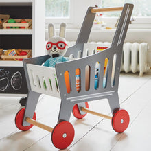 Wooden toy shopping trolley in silver with red wheels.