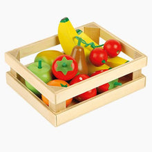 Five-A-Day wooden fruit box with wooden fish and vegetables.