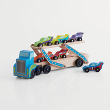 wooden truck transporter and cars