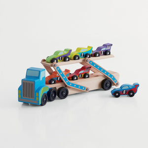 Wooden Race Car Transporter & Cars