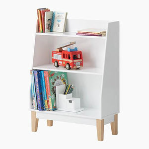 Potter bookcase with children's books and a cuddly toy.