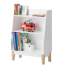 Potter bookcase in white with children's books and a desk organiser.