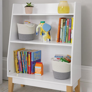Potter bookcase in white with children's books and a pencil holder.