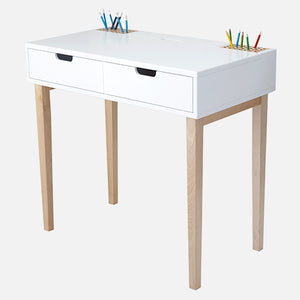 Fleming study desk in white with fitted pencil holders.