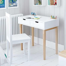 Fleming study desk in white with fitted pencil holders and pencils.