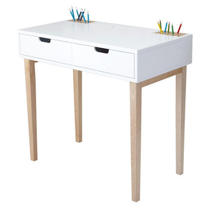 Fleming study desk in white with fitted pencil holders and two storage drawers.