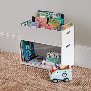 Rackham toy box in white with storage cubes and photo frames.