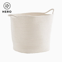 Rope storage baskets in ivory and grey.