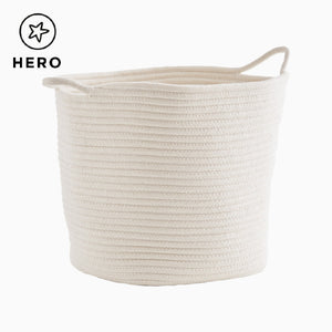 Rope storage baskets in ivory and in grey.