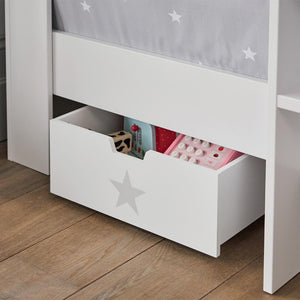 Underbed storage drawer in white with a grey star.
