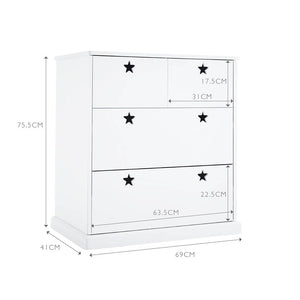 Star bright chest of drawers in white and a grey clouds rug.