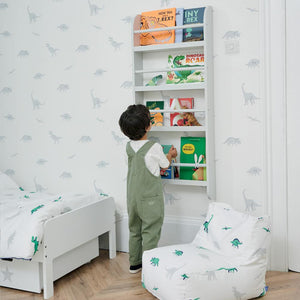 Greenaway skinny gallery bookcase in cloud grey with animated children's books.