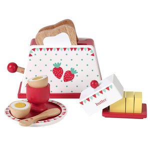 Berry Breakfast Set, wooden egg and spoon.