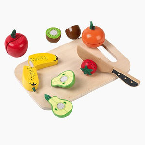 Cutting fruit set with various wooden fruits and a wooden knife & board.