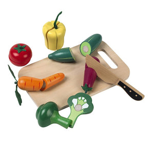 Cutting veg set with various wooden vegetables and a wooden knife & board.