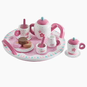 Daisy wooden tea set with tasty wooden tea treats.