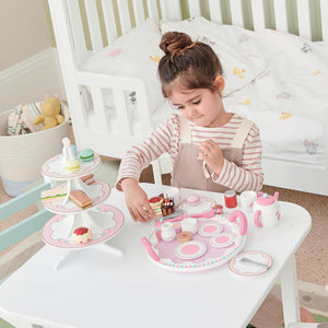 Daisy wooden tea set in pink & white with tasty wooden tea treats.