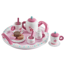 Daisy wooden tea set with white & pink cups and kettle and little wooden tea treats.