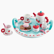 Wooden berry tea set, with teapot, cups and sugar pot.