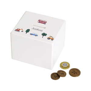 Personalised money box, on the road theme.