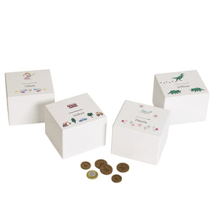 Personalised money boxes in various designs.