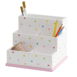 Close up of the children's desk tidy small compartments with mini stationery.