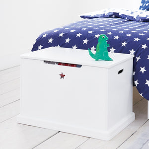 Star bright toy box in white with a navy star duvet cover set.