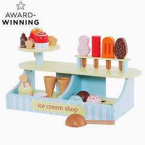 Lolly & scoop ice cream shop with a wooden, pink toy till.