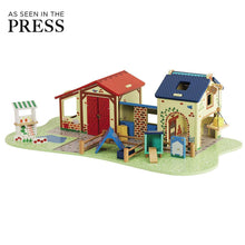 Willow toy farm (wooden) with farm family toy set.