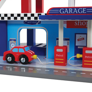 Close up of the turbo toy garage design details.