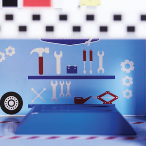 Wooden turbo toy garage with wooden vehicles for children.