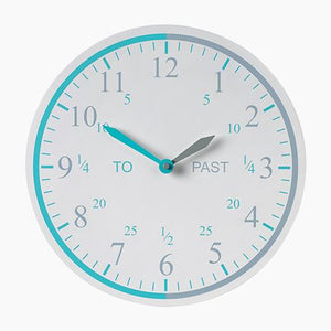 Tell the time wall clock in grey.