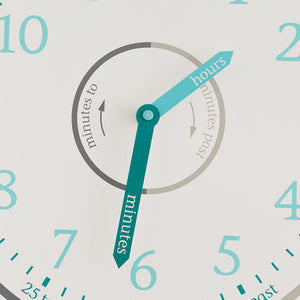 Tell the time wall clock in blue and grey.