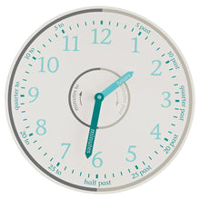 Tell the time wall clock in grey and height measuring charts.